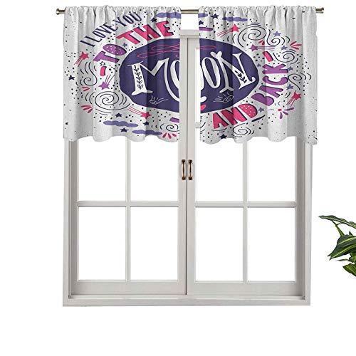 Hiiiman Sunshine Blockout cortina con cenefa de colores dulces con formas divertidas de cometa tormenta nubes de San Valentín, juego de 2, 137 x 91 cm para interior salón comedor
