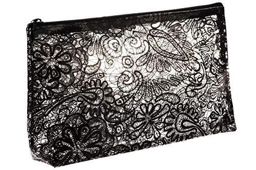 Trousse de Maquillage Transparente avec imprimé Fleurs Noires, Transparent (Transparent) - A04593ZDA