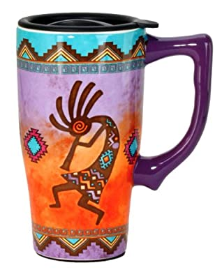 Colorful Native Art Insulated Lidded Ceramic To Go Mug