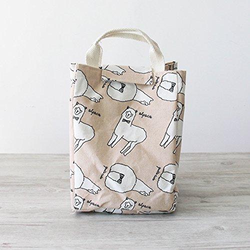Mirayen Baumwolle Isoliertasche Kühltasche Thermotasche Lunchtasche Mittagessen Lunch Tasche Picknicktasche Zur Schule gehen ins Büro (Rosa Schaf)