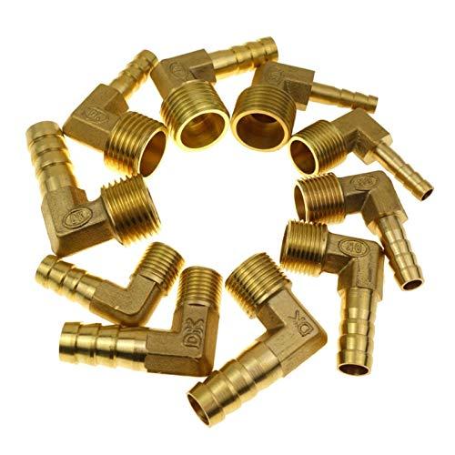 Jinchao-Accesorios de tubería de latón, Male Elbow Connector, 6 8 10 12 Mm Manguera ID Barb X 1/8' 1/4' 3/8' 1/2' Male Rosca latón de púas de Montaje, Reparar Accesorios