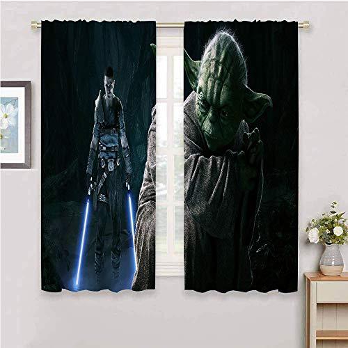 DILITECK Cortina de ventana negra de 2 paneles de Star Wars Star Wars The Force Unleashed Starkiller y-oda Galen Marek cortina de impresión personalizada cortinas de 137 x 96 cm