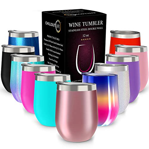 CHILLOUT LIFE 12 oz Stainless Steel Tumbler with Lid and Gift Box - Wine Tumbler Double Wall Vacuum Insulated Travel Tumbler Cup for Coffee, Wine, Cocktails, Ice Cream