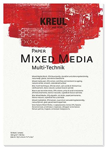 Kreul 69022 - Paper Mixed Media, DIN A3, 200 g/qm, 10 Blatt, säurefrei und alterungsbeständig, naturweiß, für alle Mixed Media Fine Art Techniken, für Nass- oder Trockenmalanwendungen