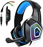 DKEE PS4 Gaming Headset, Xbox One-Controller, Wired Noise Isolation, Over-Ear-Kopfhörer Mit Mikrofon, Stereo Gamer Kopfhörer 3.5mm, Kopfhörer for Xbox One, Laptop, Mac, PC (Black & Blue