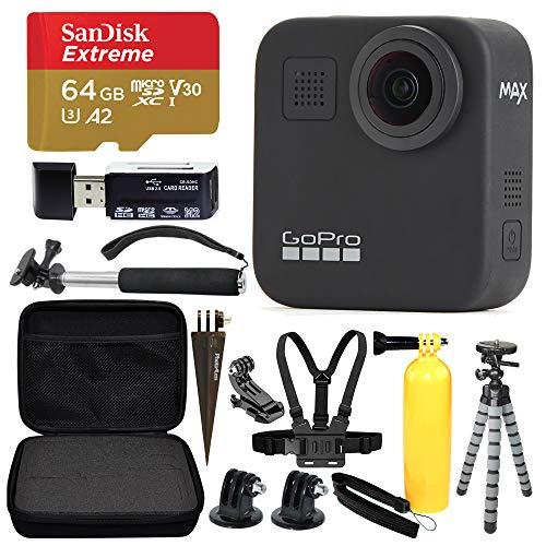 GoPro MAX 360 Sports Action Camera + SanDisk Extreme 64GB microSDXC + Top Value Bundle!