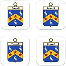 Fennell Or Ofennell Family Crest Square Coasters Coat of Arms Coasters - Set of 4