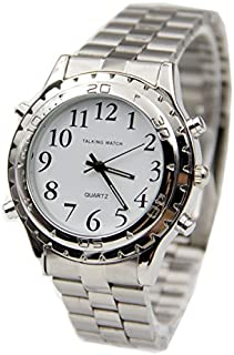 Huanxi Talking Wrist Watch, English Speaking Talking Watch for Blind People or Visually Impaired People or the Elderly with Alarm of Quartz-Stainless
