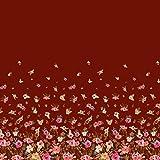Soimoi Rot Viskose Chiffon Stoff Blätter und Blumen Platte