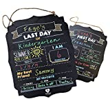 First Day of School Board | Fayfaire Jumbo 2-in-1 Back to School & End of The Year Sign 14.5' X 11.5' | Customizable 1st & Last Day of School Chalkboard Sign | Double-Sided Milestone Photo Prop