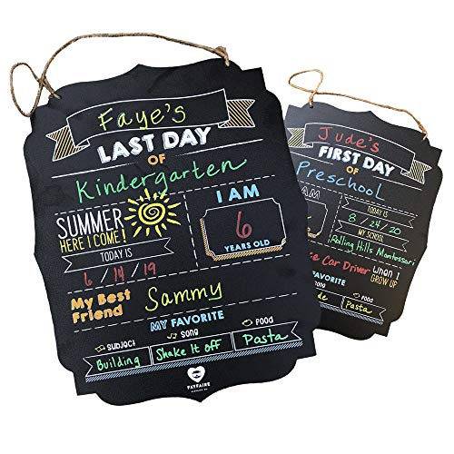 """Fayfaire First Day of School Board Jumbo 2-in-1 Back to School & End of The Year Sign 14.5"""" X 11.5"""" 