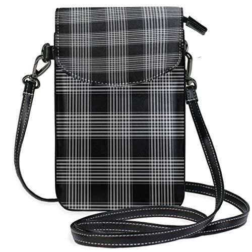 XCNGG Monedero pequeño para teléfono celular Checks Plaid Tartan Black Cell Phone Purse Wallet for Women Girl Small Crossbody Purse Bags