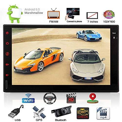 Eincar Android 6.0 GPS Navigation Double Din 7 Inch Car Stereo System 2 DIN in Dash Head Unit with SWC Dual CAM-in Automotive Video Audio FM/AM Bluetooth Mirror Link WiFi 1080P Colorful Lights+