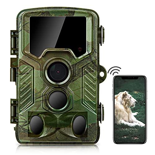 COOLIFE Fototrappola WiFi Bluetooth 4K 32MP con App Fotocamera Caccia con Infrarossi Visione Notturna 25m Fino a 125°,Velocità di Trigger 0,1 s Videocamera da Caccia,Telefonica Invio Foto
