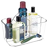 mDesign Plastic Men's Grooming Storage Organizer Caddy Tote - Divided Basket Bin, Handle for Bathroom - Holds Shaving Cream, Razors, Beard Oil, Combs, Brushes, Hair Gel, Cologne - Small - Clear