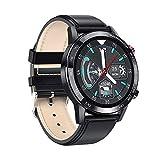 Smart Watch, Ip68 impermeabile ad alta definizione schermo rotondo informazioni sincrono monitoraggio del sonno impermeabile, adatto per corsa all'aperto e ciclismo viaggio (colore : pelle nera)