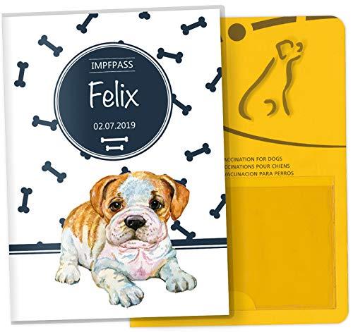 Impfpass Hülle Bone Tierausweis Schutzhülle schöne Geschenkidee personalisierbar mit Namen und Geburtsdatum (Englische Bulldogge, Impfpasshülle personalisiert)