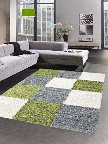 Carpetia Shaggy tapijt hoogpolig langpolig bedmatje woonkamer tapijt loper ruit groen grijs crème