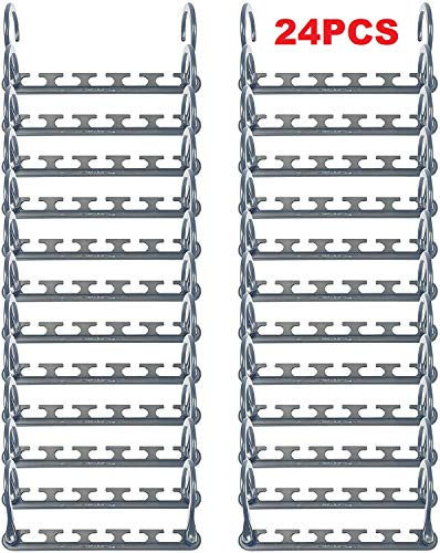 Magical Hangers, 24 Pcs Multifunctional Space Saving Closet Clothing Hangers Organizer with Updated Hook for Clothes Trouser Coat Portable Durable