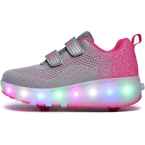Aupast Deportes al Aire Libre Zapatillas de Deporte Cruzadas Zapatillas de Gimnasia Unisex Niños Fitness Patines con Ruedas Dobles Luz LED Patines Intermitentes Zapatos