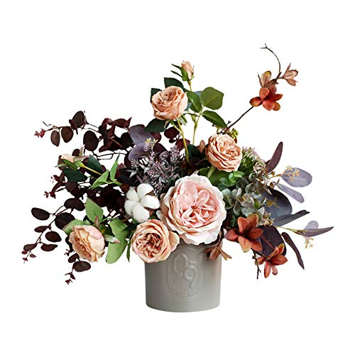 ZAJ Artificial Plants Fake Flowers Centerpieces - Faux Silk Flowers Bonsai in Retro Ceramic Vase, Vintage Artificial Silk Rose Flowers Bouquets Set for Home/Bedroom/Office/Wedding Decorative Swags
