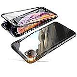 Jonwelsy Funda para iPhone 11 Pro (5,8 Pulgada), 360 Grados Delantera y Trasera de Transparente Vidrio Templado Case Cover, Fuerte Tecnología de Adsorción Magnética Metal Bumper Cubierta (Negro)