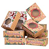 12pcs Christmas Cookie Boxes Large Holiday Bakery Food Container Candy Boxes Gift Boxes Storage Holders for Xmas Party Christmas Festival