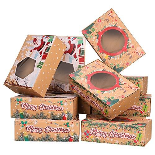 Cabilock 12 Stück Weihnachts-Plätzchen-Boxen für Donut und Kekse, Geschenk-Boxen mit transparentem Fenster und 22 m Bändern, Süßigkeiten- und Keks-Boxen zum Verschenken