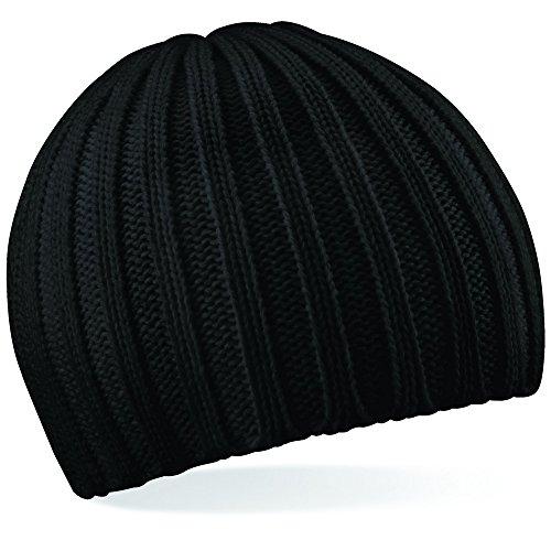 B462 Chunky Knit Beanie - Schwarz