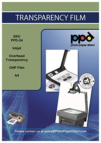PPD 10 x A4 Inkjet Transparentfolie - OHP PREMIUM Overheadfolie Für Tintenstrahldrucker Ohne Sensorstreifen, Neue Mikroporöse Beschichtung Für Schnelle Trockung und Vollfarbige Drucke , DIN A4 x 10 Blatt PPD34-10