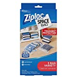 Ziploc Flat Space Bags, for Organization and Storage, Reusable, Waterproof Bag, Pack of 3 (2 Flat & 1 Travel)