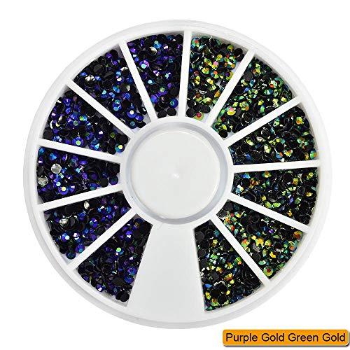 Meiyy Nageldecoratie, 1 wiel, 2 mm, gemengde kleurrijke strasssteentjes, zilver/goud, plat, voor uv-geldecoratie, doe-het-zelf gelatine kunstparels Purple Gold Green Go