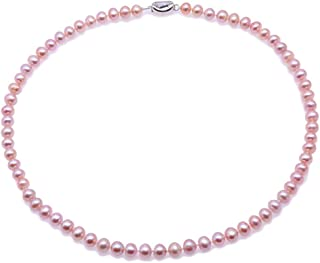 JYX Pearl Strand Necklace AA+ Quality 7-8mm Near Round Cultured Freshwater Pearl Necklace 18