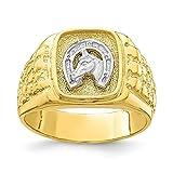 10 quilates dos tonos zapatos de caballo para hombre anillo joyería regalos para hombres – mayor grado de oro que oro de 9 quilates