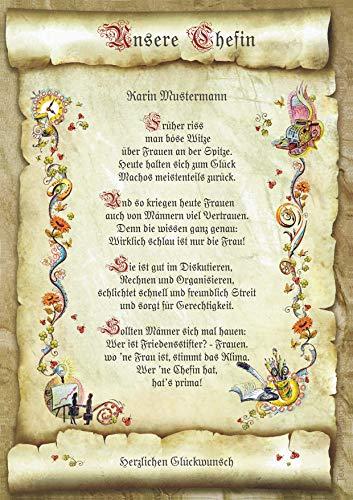 Geschenk-Urkunde für die Chefin, Zeichnung mit humorvollem Gedicht Glückwunsch A4 Bild-Präsent zum Jubiläum, persönlich durch Wunschtext