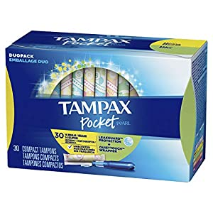 Tampax Pocket Pearl Plastic Tampons Regular/Super/Super Plus Multipack, Unscented, 34 Count, 4 Boxes, (Total 136 Count)