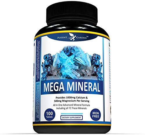 Mega Mineral All in One Advanced Mineral Formula with Calcium Magnesium Zinc D3 Potassium, Chromium and More - Iron Free – Potent Garden Multi-Mineral Supplement -100 Tablets