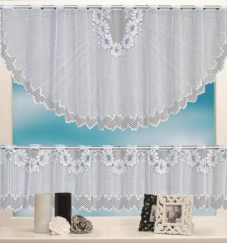 yan'store Scheibengardine 2 Teilige Spitze-Jacquard Vorhang Set Halb-Bogen HxB 60x160cm und Bistrogardine HxB 30x160cm Stangendurchzug Weiß