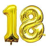 Ouinne Globo 18 Años, 40 Pulgadas Globo del Cumpleaños Número 18 Helio Globos para La Decoración Boda Aniversario (Oro)