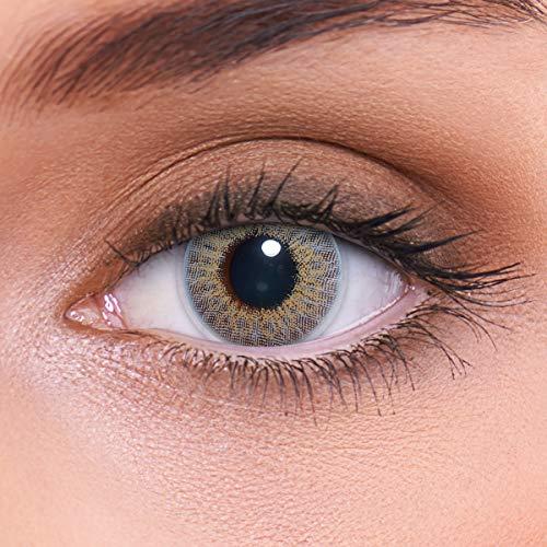 LENZOTICA Sehr stark natürlich deckende graue Kontaktlinsen farbig MARBLE GREY + Behälter von LENZOTICA I 1 Paar (2 Stück) I DIA 14.00 I ohne Stärke I 0.00 Dioptrien