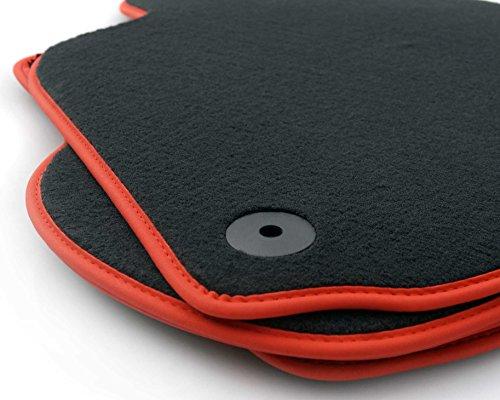 Fußmatten passend für Golf 4 Bora GTI (Velours) Premium Automatten Nubuk schwarz/rot 4-teiliges Set