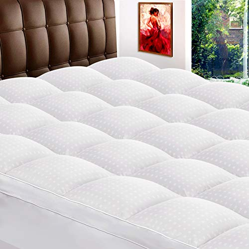 ZAMAT Extra Thick Mattress Topper Queen 400TC 100% Organic Cotton Cooling Mattress Pad Cover Plush Quilted Pillow Top with 950gsm Down Alternative Fill Bed Topper for Cushioning 821quot Deep Pocket