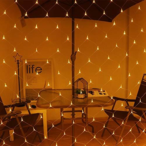 Hengda 2 * 2 Meter Warmweiß 204 LED Lichternetz Lichtervorhang Lichterkette Deko Leuchte Innen und Außen Geburtstag Party Garten Hochzeit
