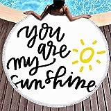 Drollpoe Redondo Toalla de Playa Borlas Tipografía Dibujo Amarillo Tú mi Sol Sol Misceláneo Letras de Mano Escritura a Mano Canción Infantil