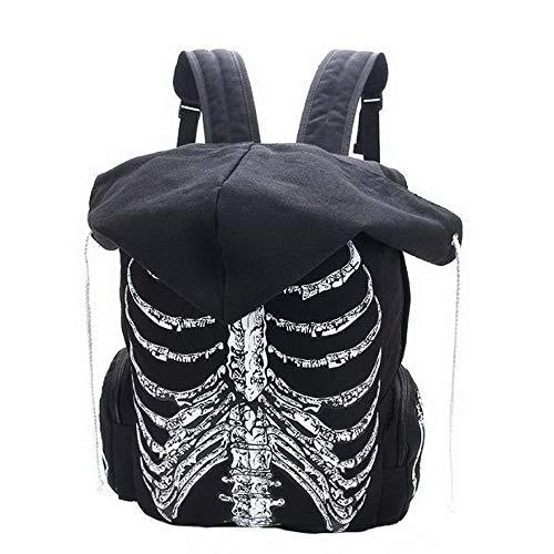GHH Multifunktionale Schultaschen Unisex-Schädel Bedruckten Rucksack Mit Kapuzen Kappe, Gothic-Punk-Stil Frauen Reisetasche