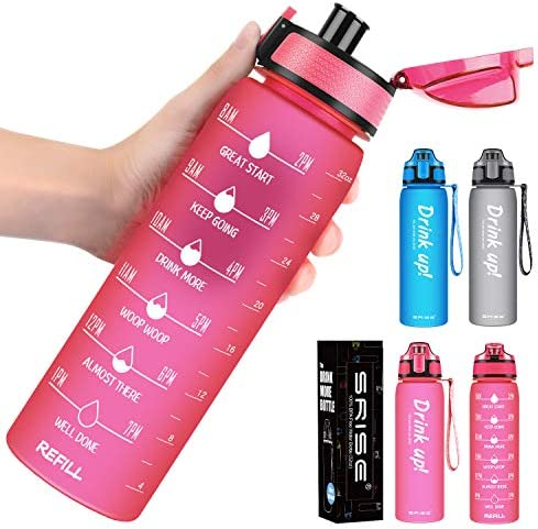 Water Bottles with Times to Drink 32oz Motivational Water Drinking Bottle BPA Free Non Toxic product image
