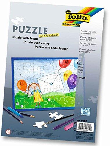 folia 2332 - Blanko Puzzle mit Legerahmen, 35 teilig, DIN A4, weiß