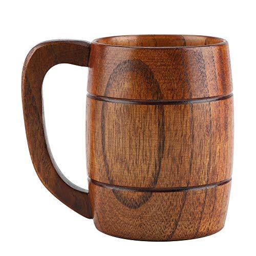 Jadeshay Taza de Cerveza de Madera Natural de 350 ml, Taza para Beber café de té, Accesorios para Bar, Ideas para Regalos