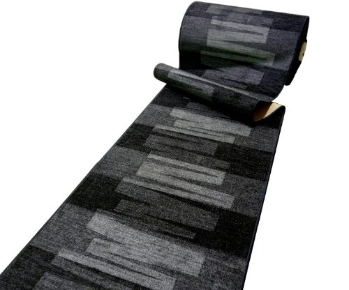Läufer Teppich Brücke Teppichläufer Veneto 80 cm breit anthrazit grau Marke: Ta-Bo Lifestyle, 80x300 cm inkl. edlen Ta-Bo-Lifestyle Schlüsselanhänger
