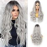 Pelucas de color gris plateado para mujer, recta larga, recta, gris, hombre, raíces negras, natural, para cosplay, fiesta o regalo